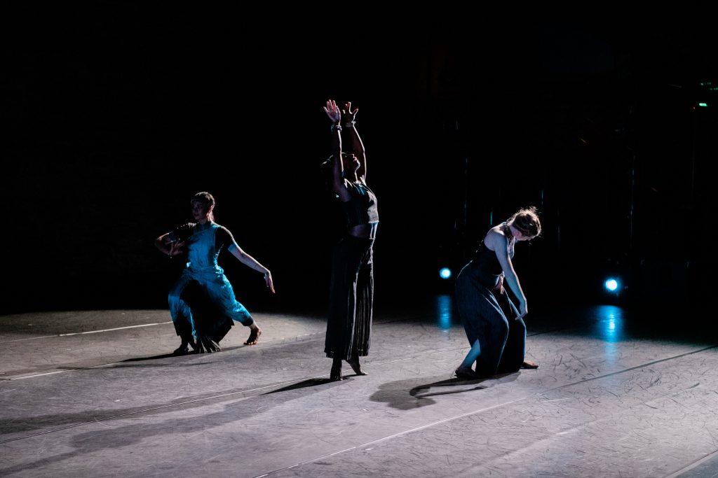 Ramaswamy, Morris-Van Tassel, and Ahlgren performing at The Lab in 2019