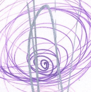 A purple spiral that grows larger from the center outwards, intersected by a silver ellipse