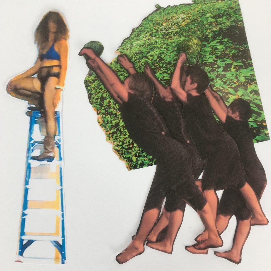 A collage image: a brown dancer sits atop a ladder and two dancers in black reach overhead
